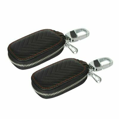 2X Leather Case Cage Universal Car Key Bag Fob Pouch Protection Key Bag Cover • 10.89£