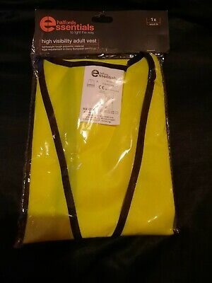 Halfords Adult High Visibility Vest Yellow Brand New! • 2.19£