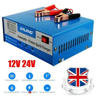 Car Battery Charger 10A Heavy Duty 12V/24V Vehicle Repair Lorry Boat UK Shipping • 17.39£
