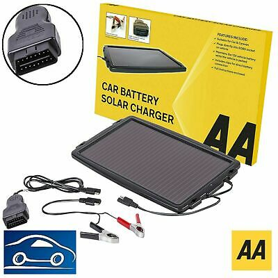 AA Essentials 12V Solar-Powered Car Battery Charger Solar Panel OBD Version • 22.99£