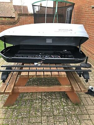 Exodus Roof Box 470 Litre And Roof Bars Bundle Halfords Christmas • 80£
