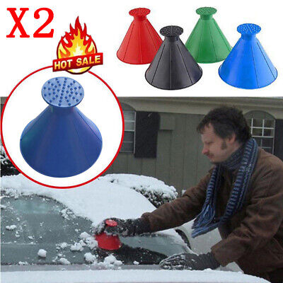 2X Magical Car Windshield Ice Snow Remover Scraper Tool Shaped Round Funnel Blue • 5.99£