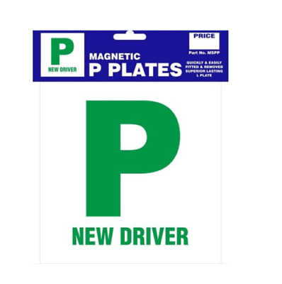 Pack Of 2 P Plate New Driver Green Magnetic Pair Just Passed For Car Van Jeep • 2.45£