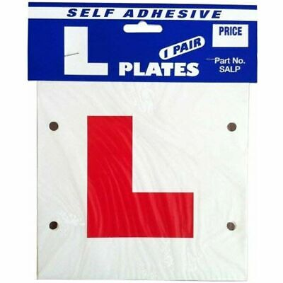 Learner Driver L Plate - Stick On Or Tie On - Pair - Self Adhesive • 1.99£