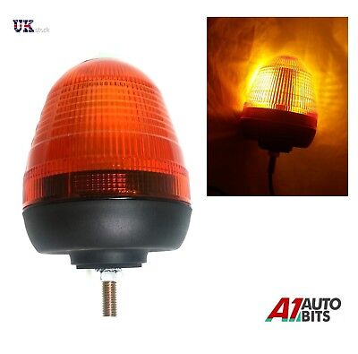 Led Flashing Warning Beacon 12v / 24v Single 1 Bolt Point Mount  Amber Orange  • 18.99£