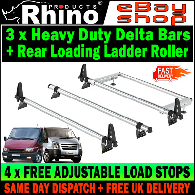SWB+MWB=LOW ROOF 3 X Ford Transit Roof Rack Bars With Roller 2000-2014 Rhino Van • 185.50£