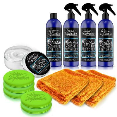 Car Interior Cleaning Kit Glass Leather Balm Fabric Cleaner Pure Definition • 16.96£