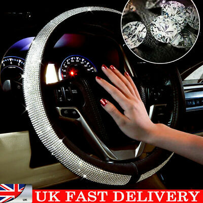 UK Car Steering Wheel Crystal Sparkled Diamond Cover PU Leather Skidproof Bling • 9.89£