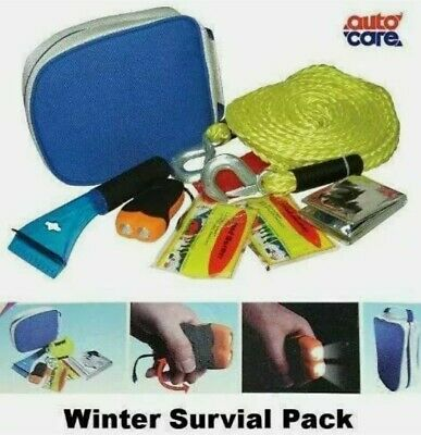 Autocare Winter Survival Pack Torch, Tow Rope, Ice Scraper, Emergency Blanket UK • 9.99£