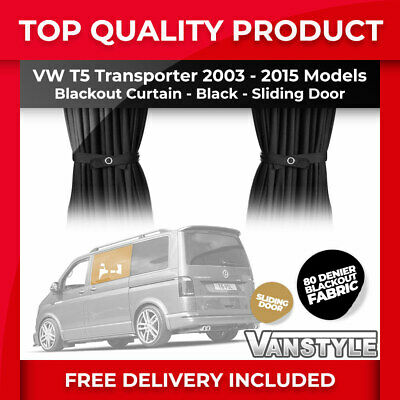 Vw T5 03-15 Tailored Blackout 80 Denier Fabric Sliding Door Window Curtain Black • 29.99£