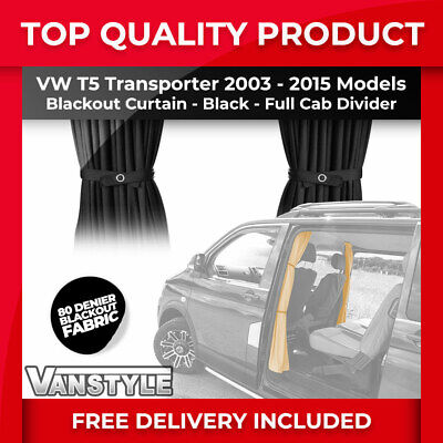 Vw T5 03-15 Tailored Fit Blackout Cab Divider Separator Curtain In Black Fabric • 30.99£