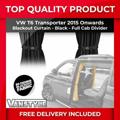 Vw T6 2015> Tailored Fit Blackout Cab Divider Separator Curtain In Black Fabric • 30.99£