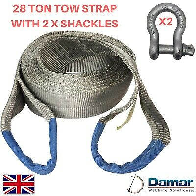Tow Strap 28 Ton 6 Mtr With 2 Tested Bow Shackles 6.5 Ton HEAVY DUTY • 47£