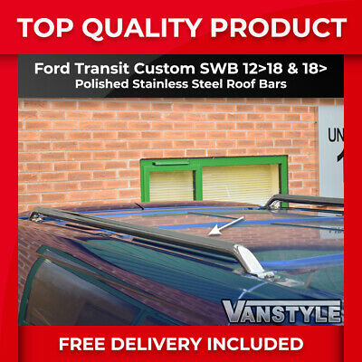 Ford Transit Custom Polished Stainless Steel Roof Rails Bars Rack Chrome Tourneo • 82.44£