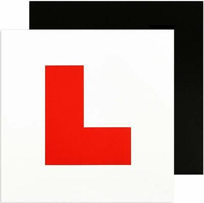 Genuine 2 X L Plate Fully Magnetic Exterior Car Learner Secure & Safe Legal Size • 1.99£