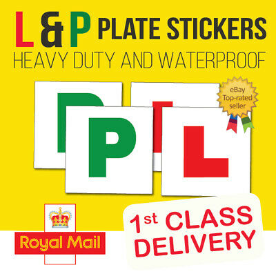 2 X L Plate Sticker & 2 X P Plate Stickers Learner Driver Pack Car Legal Vinyl • 2.95£