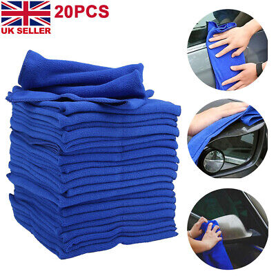 20x LARGE MICROFIBRE CLEANING AUTO CAR DETAILING SOFT CLOTHS WASH TOWEL DUSTER • 7.59£