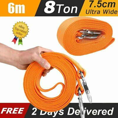 6M Tow Rope 8T 4x4 Heavy Duty Towing Pull Strap Road Recovery With Two Shackles • 12.59£