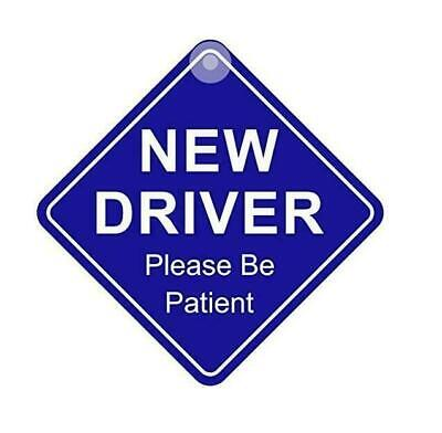 New Driver Please Be Patient Road Safety Blue Diamond Sign Car Sticker • 2.99£