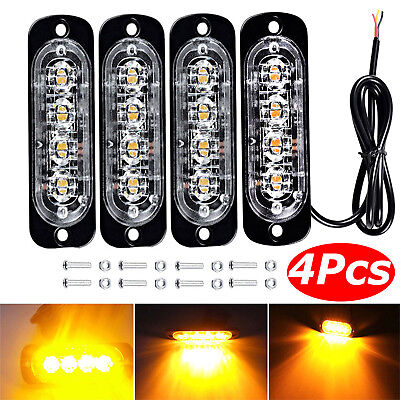 4X 4 LED Car Truck Emergency Strobe Amber Flashing Beacon Breakdown 12/24V Light • 9.89£