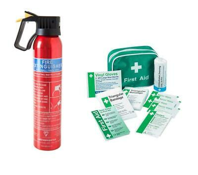 First Aid Kit & 600g Fire Extinguisher For Car Van Home Office Taxi Caravan Boat • 16.45£
