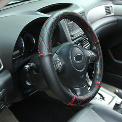 14  - 15  Soft Leather Steering Wheel Cover - Black With Red Cross Stitching • 13.59£