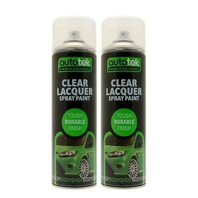 2x AUTOTEK Clear Lacquer 500ML Spray Paint GLOSS HIGH COVERAGE CLEAR LACQUER • 10.79£