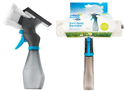 3-in-1 Window Cleaner Spray Bottle Wiper Squeegee Microfibre Pad Glass Cleaning • 6.19£