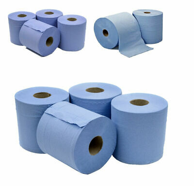 6 X Jumbo Workshop Hand Towels Rolls 2 Ply Centre Feed Wipes Embossed Tissue • 9.39£