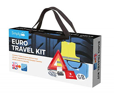 Simply Car ETK1 Europe Travel Kit. 7 Piece Set Includes Warning Triangle, Vest, • 24.54£