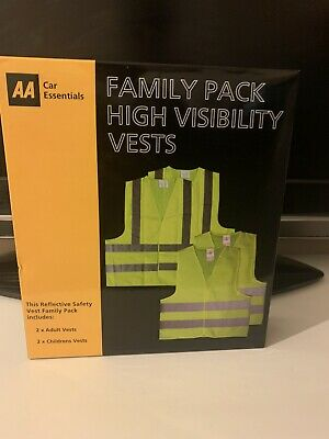 High Visibility Safety Vests  AA Family Pack Reflective Hi Vis Yellow Waistcoat • 50£