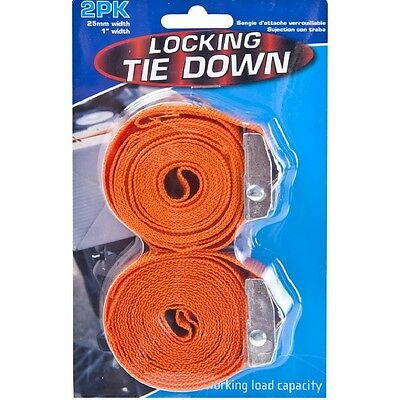 2 X 2.45 Metre Jaw Lock Heavy Duty Ratchet Tie Down Locking Set Secure Strapping • 4.33£