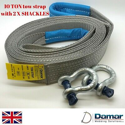 Tow Strap 4x4 Recovery 10 Ton 6 Mtr With 2 Tested Bow Shackles HEAVY DUTY • 32£