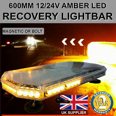 Amber LED Recovery Light Bar 600mm 12/24v Flashing Beacon Truck Light Strobes • 88£