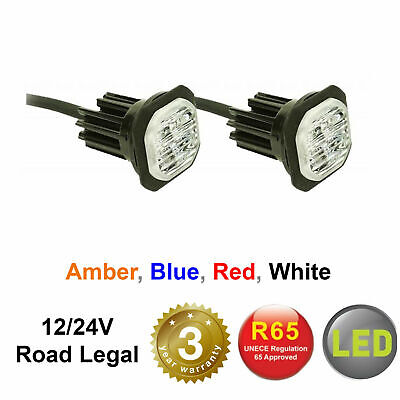 12/24v FLUSH/BRACKET LED HIDE AWAY LIGHTS LightBar Recovery Strobe Amber Beacon • 46.85£