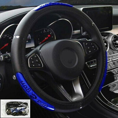 Car Steering Wheel Cover Protector Glove Universal Blue Pu Perforated Leather UK • 5.99£