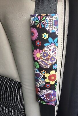 💜💀🌸 Funky Skulls Car Seat Belt Pad 🌸💀💜 • 3.75£
