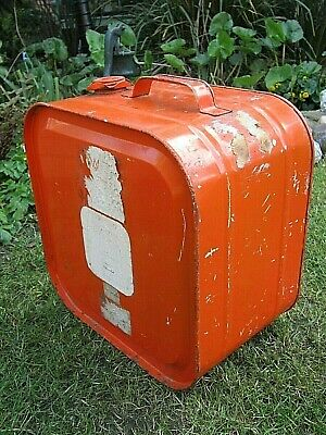 Robbican Large Old Orange Metal Fuel Can, Good Sound Condition • 17£