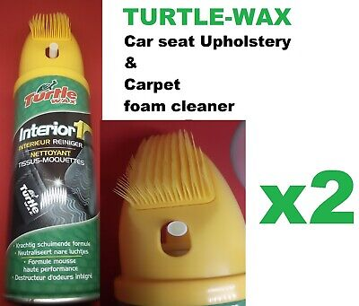 2 X Turtle Wax Interior 1 Car Seat Upholstery & Carpet Dry Foam Cleaner & Brush • 9.95£