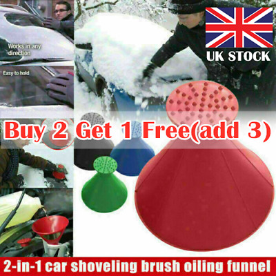 Magical Car Windshield Ice Snow Remover Scraper Tool Shaped Round Funnel Cone GB • 5.89£