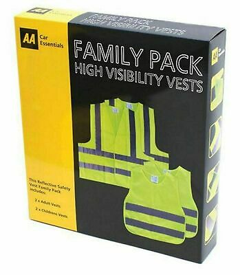 High Visibility Safety Vests  AA Family Pack Reflective Hi Vis Yellow Waistcoat • 6.99£