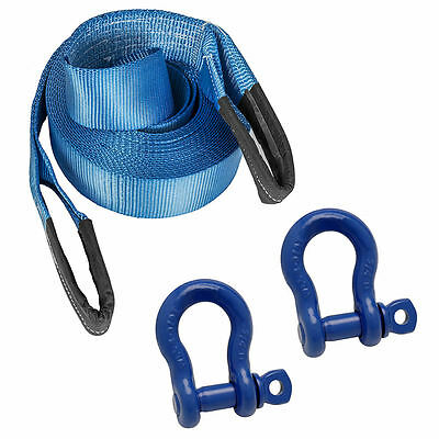 10M 4x4 Offroad Tow Rope Heavy Duty Towing Strap & 2 X 3/4 Shackles Recovery Kit • 29.99£