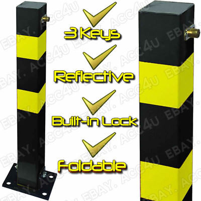 Square Reflective Folding Reserved Private Parking Bollard Security Post SWWL6 • 34.50£