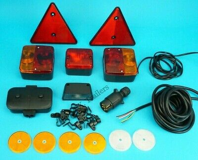 Trailer Lamp Kit With Reflectors 7 Core Cable & Clips Junction Box & 7 Pin Plug • 39.85£