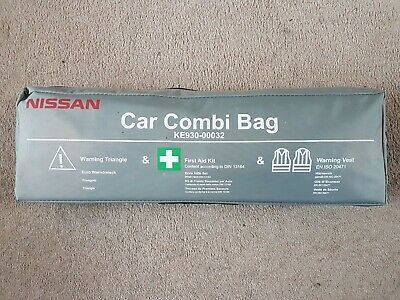 Nissan Juke Micra Note Qashqai Car Combi Bag First Aid Safety Kit With Vest NEW • 12.99£