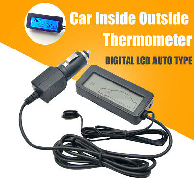 Outdoor Car Thermometer Digital 12V LCD Display Backlight Iniside Universal New • 9.89£