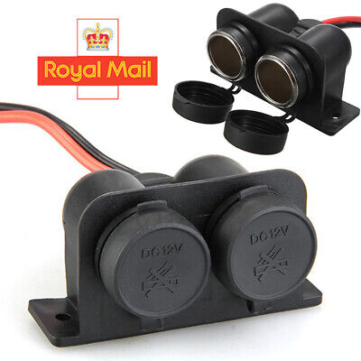 Waterproof 12V Motor Dual Female Cigarette Lighter Power Plug Outlet Socket U • 5.99£
