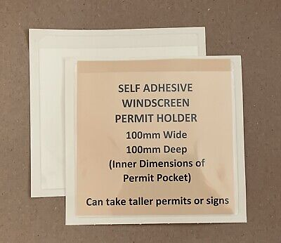 2x Self Adhesive Clear Windscreen Parking Permit Sign Ticket Holder 100x100mm • 1.95£