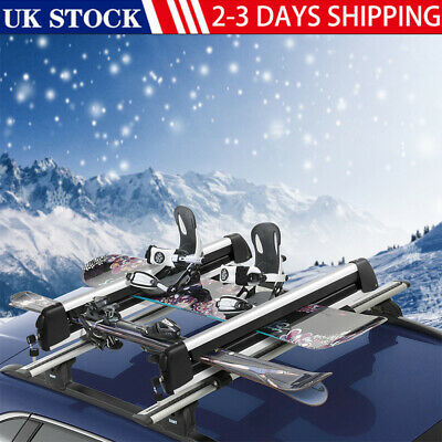 NEW Car Roof Rack - Ski And Snowboard Carrier - For 2 Skis Or 4 Snowboards Mount • 64.77£