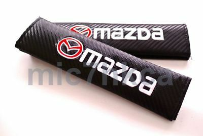 2x Carbon Fibre Seat Belt Cushion Cover Shoulder Pads For MAZDA (UK Stock) • 8.99£